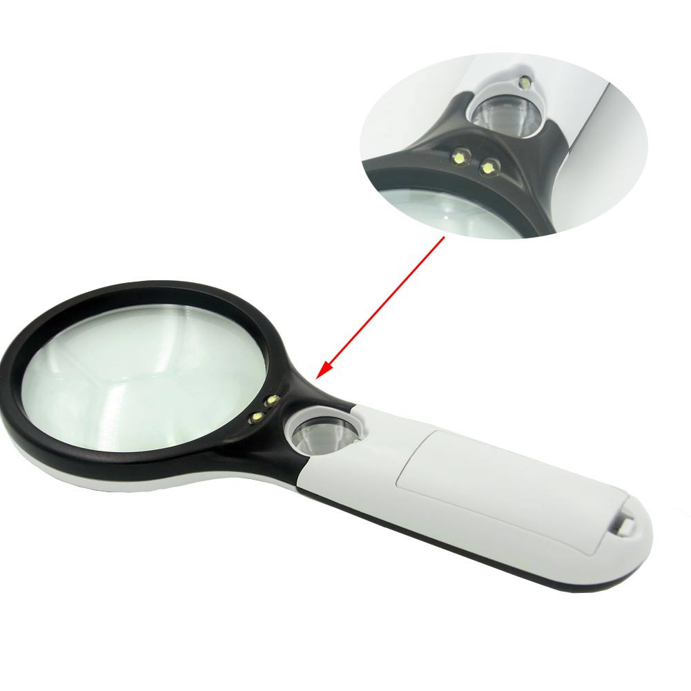 glass lens magnifier illuminated led light handheld hand held ebay. Black Bedroom Furniture Sets. Home Design Ideas