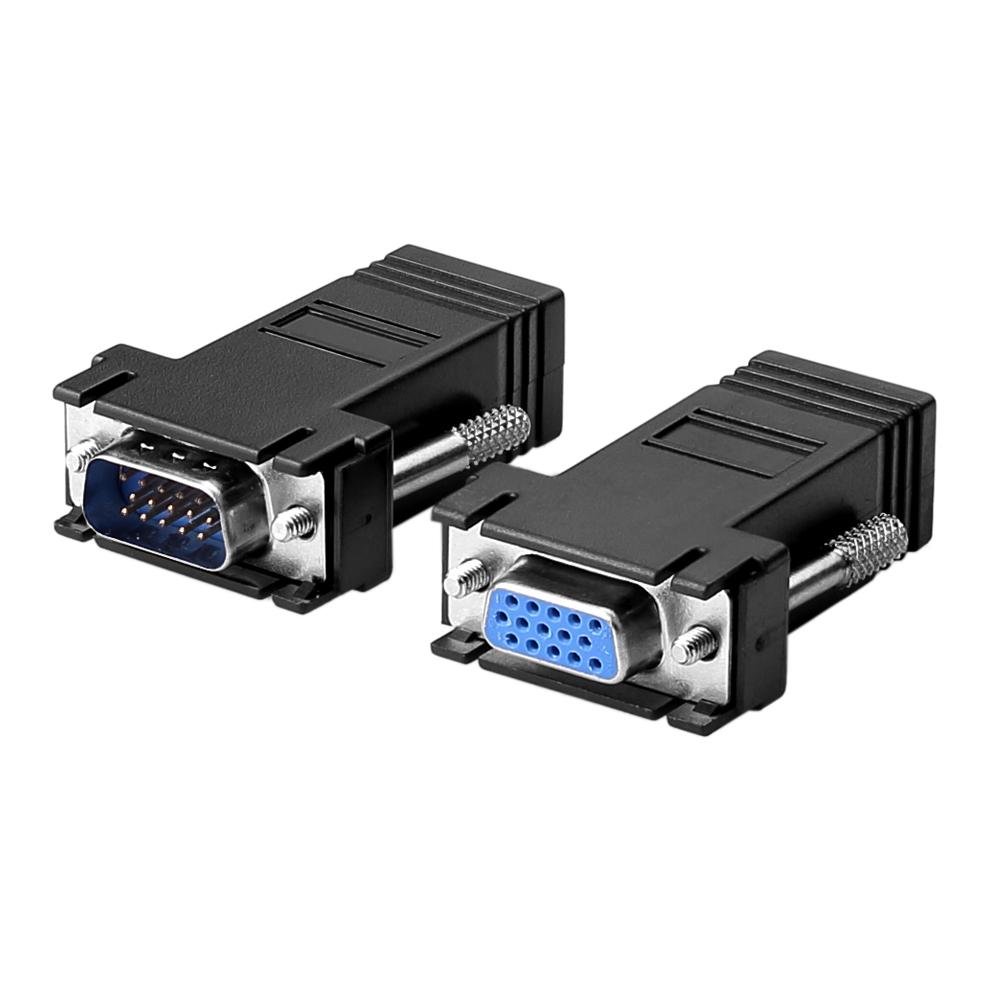 vga extender 15pin buchse zu lan cat5 6 rj45 netzwerk kabel adapter 20m f m ebay. Black Bedroom Furniture Sets. Home Design Ideas