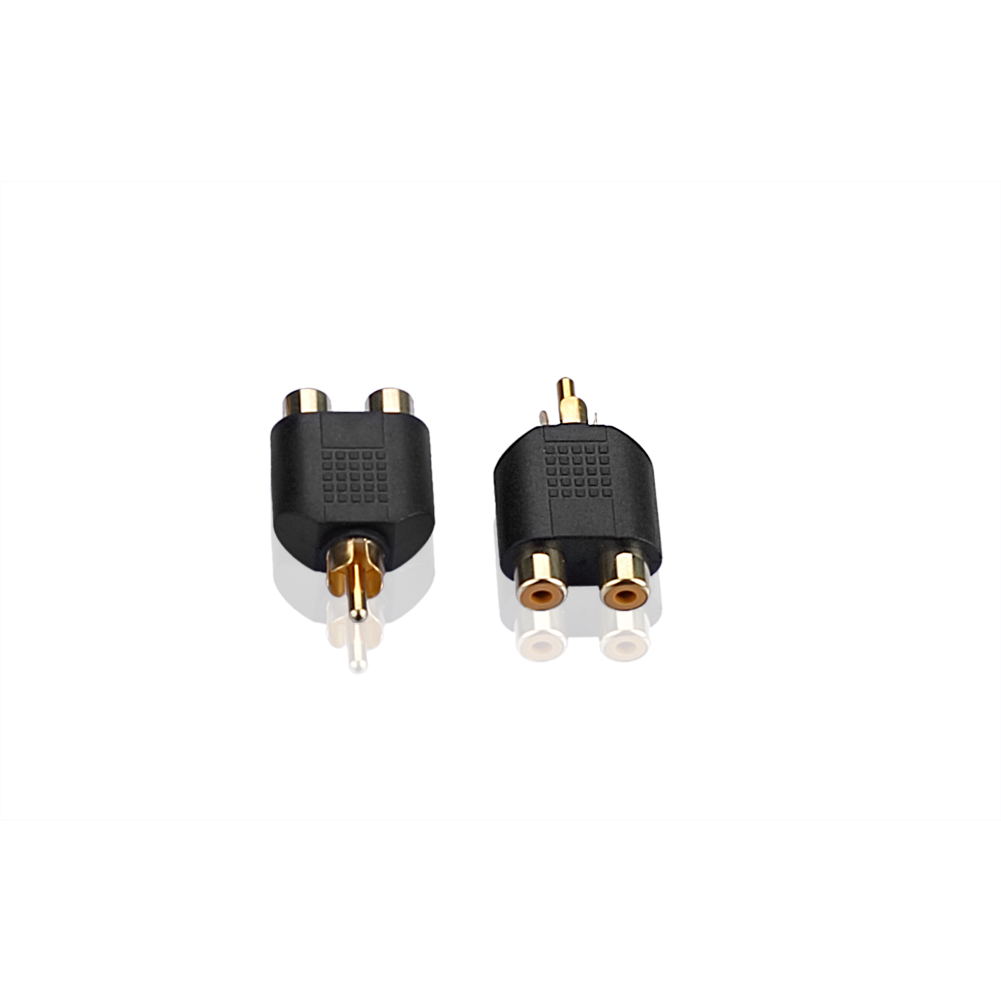 10 audio adapter chinch cinch stecker auf 2x cinch kupplung y adapter verteiler ebay. Black Bedroom Furniture Sets. Home Design Ideas