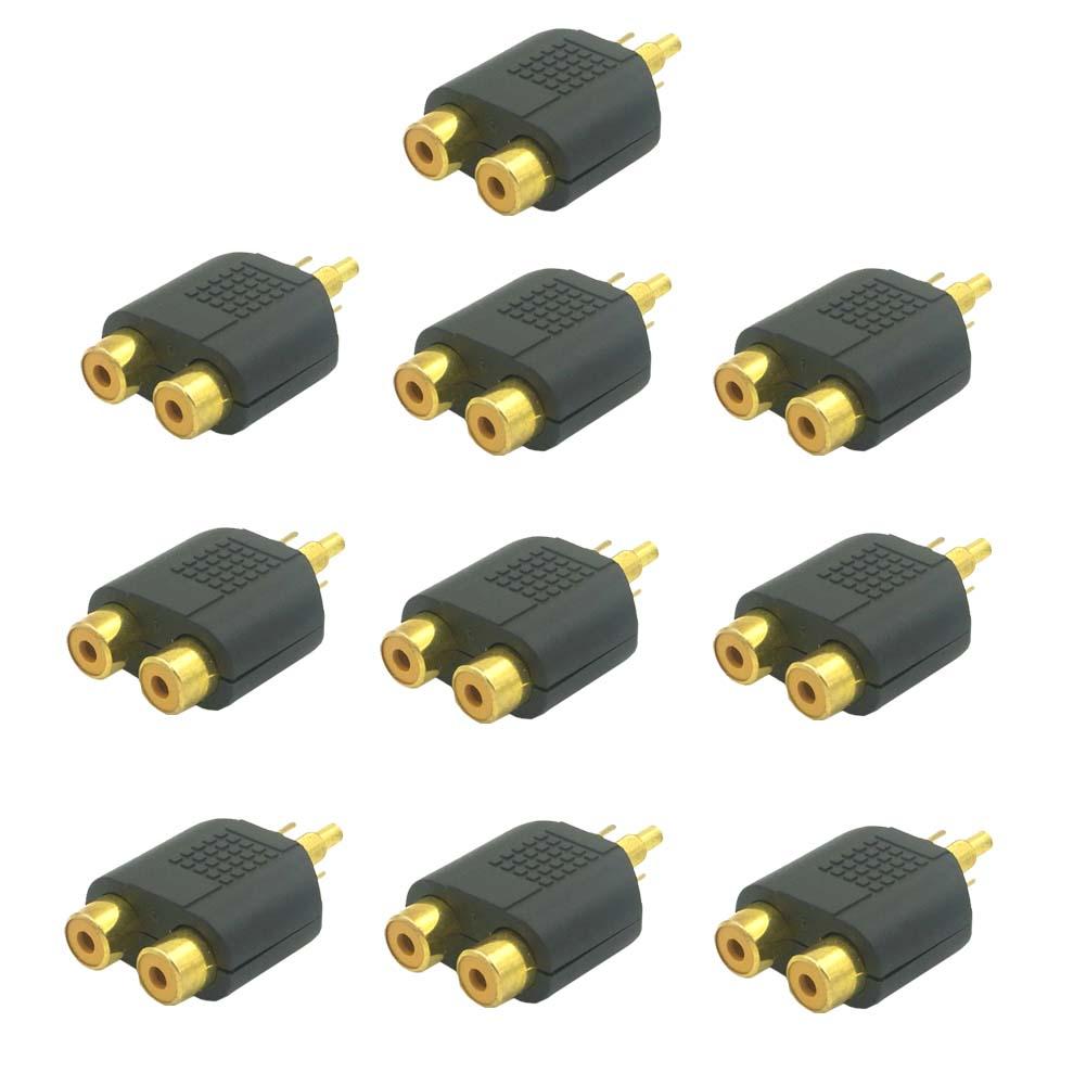 10 audio adapter chinch cinch stecker auf 2x cinch kupplung y adapter verteiler ebay. Black Bedroom Furniture Sets. Home Design Ideas
