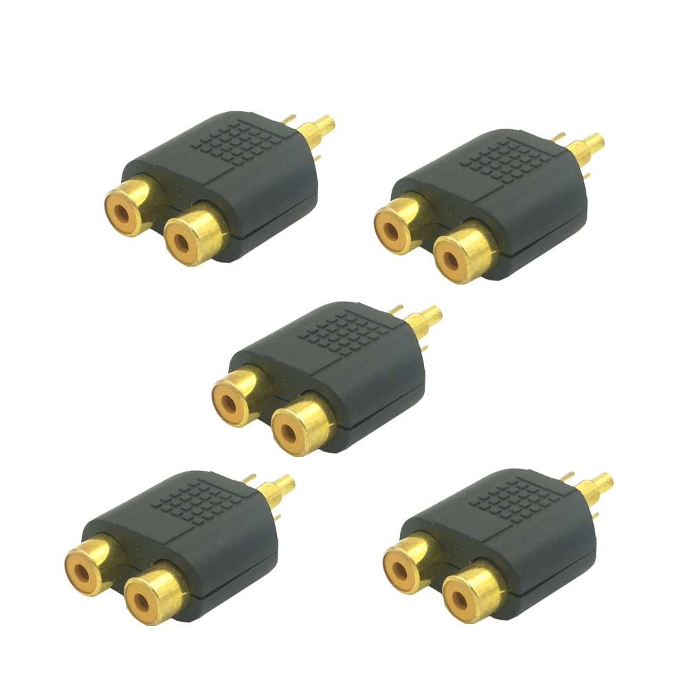 5pk audio cinch y adapter verteiler splitter 2 chinch buchse auf 1 rca stecker ebay. Black Bedroom Furniture Sets. Home Design Ideas