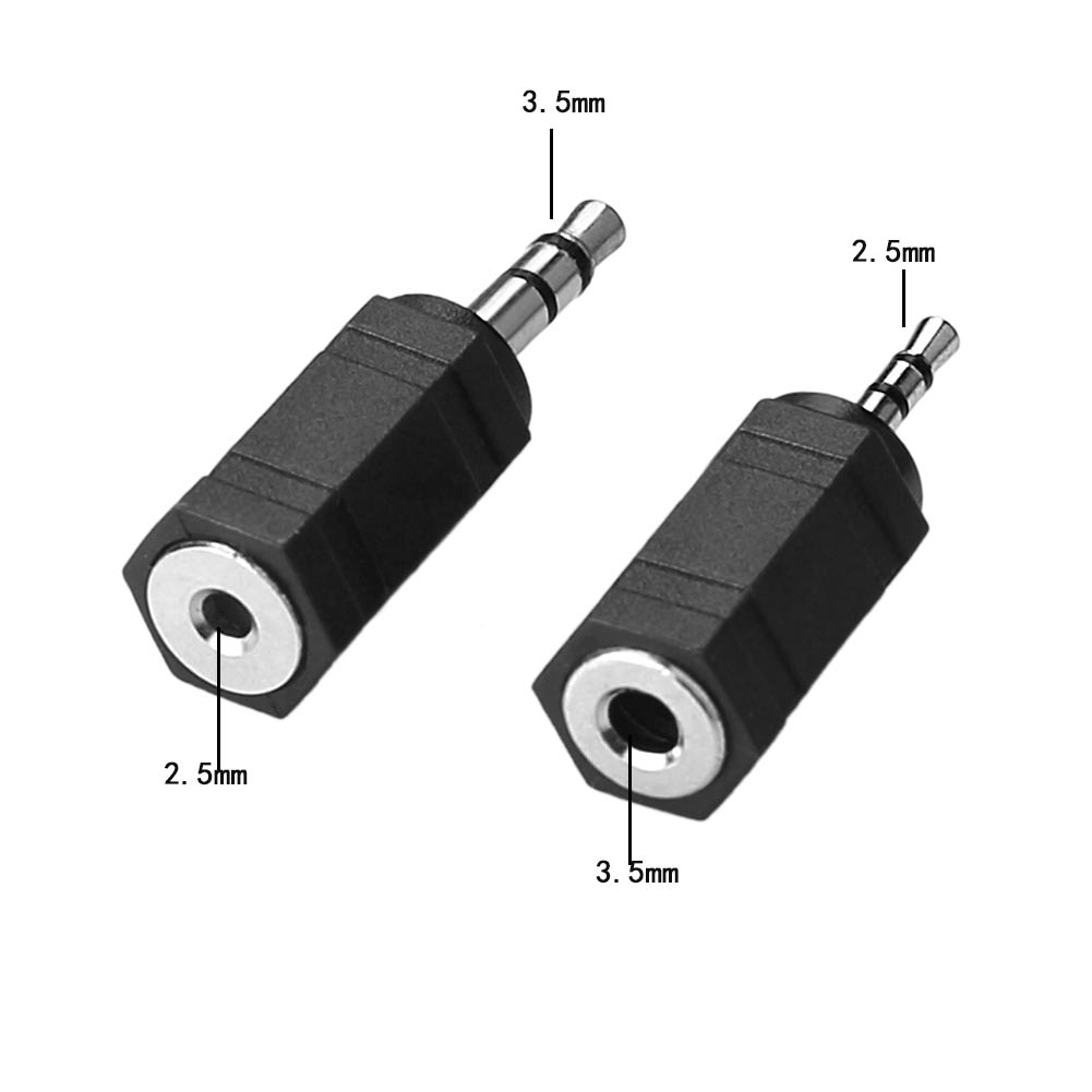 2x audio adapter set 2 5 3 5 mm klinke stecker auf 3 5. Black Bedroom Furniture Sets. Home Design Ideas