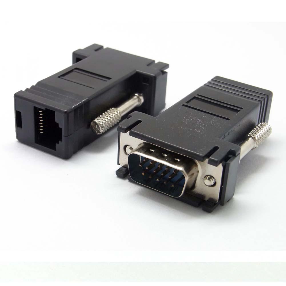 1 vga extender 15pin stecker auf lan cat5 cat6 rj45 netzwerk kabel adapter ebay. Black Bedroom Furniture Sets. Home Design Ideas